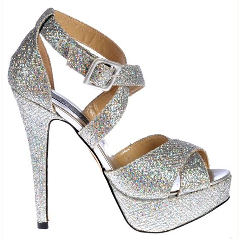 sparkly silver high heels shoekandi strappy glitter stiletto platform high heel