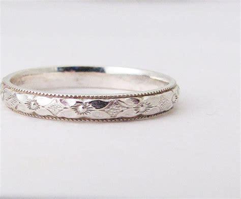 flower wedding band ring thin floral wedding ring engagement ring silver floral wedding band silver stacking ring posey
