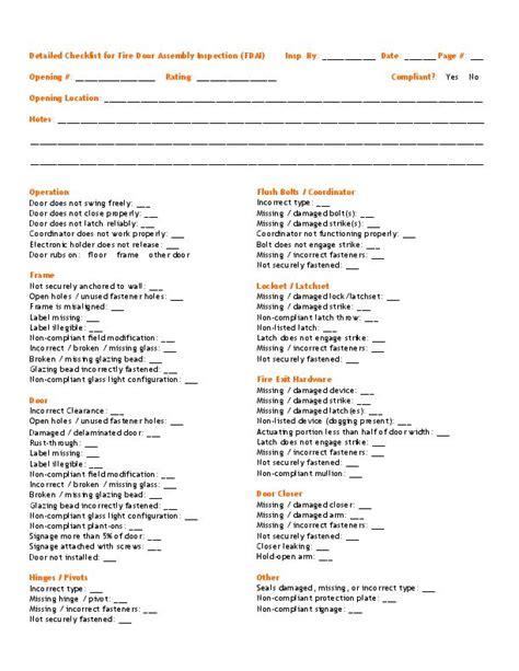 I Dig Hardware 187 Fire Door Inspection Checklist Door Checklist Template