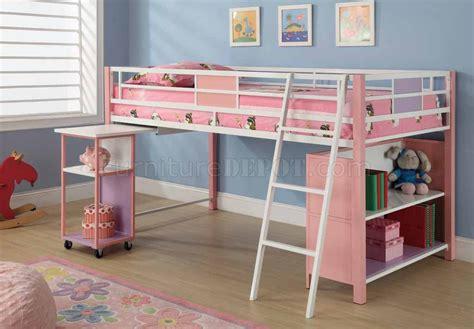 kids loft bed with storage pink finish modern kids twin loft bed w storage shelves