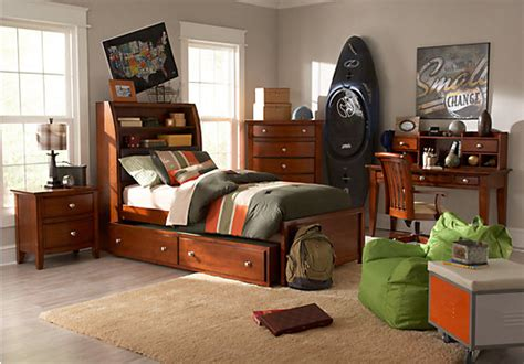 bedroom sets for teen boys santa cruz cherry 5 pc twin bookcase bedroom bedroom sets dark wood