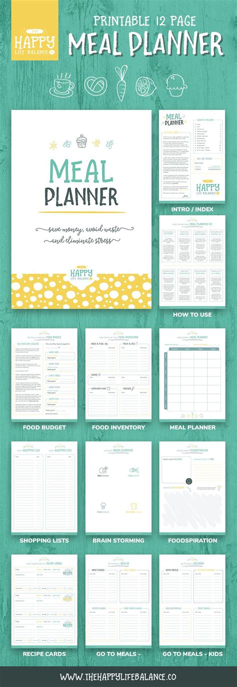 printable a4 weekly meal planner meal planner pages daily planner recipe cards meal