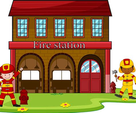 Fire Station Fun Station Coloring Page
