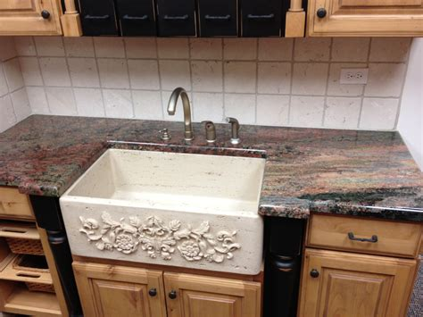 Wonderful Farmhouse Kitchen Island For Sale #3: Fabulous-Farm-sink-for-sale-in-beautiful-white-granite-with-carving-flower-dsign-with-brown-leather-granite-countertop-kitchen-island-design.jpg