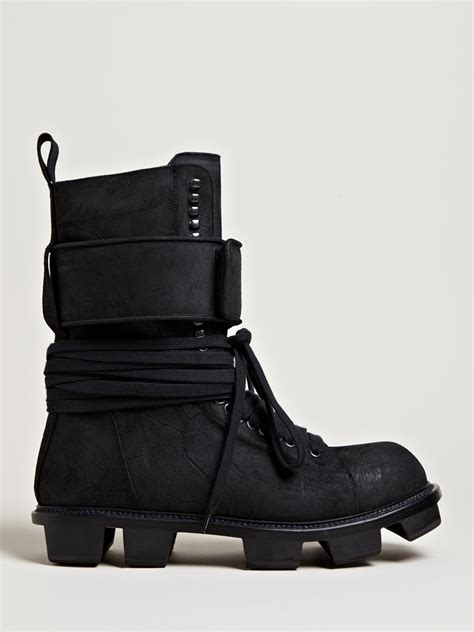 rick owens mens plinth hiker boots in black for lyst