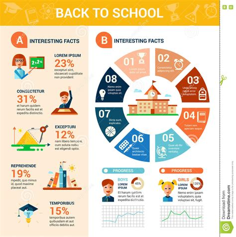 poster design educational institute back to school poster flat design tempalte stock vector