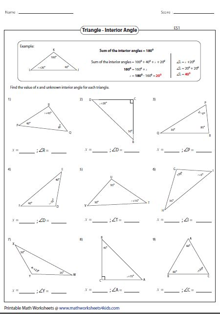 Exterior And Interior Angles Of A Triangle Worksheet by Triangles Worksheets