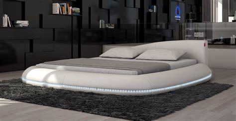 modern king size bed platform frame w led lighting cerchio modern eco leather bed w led lights
