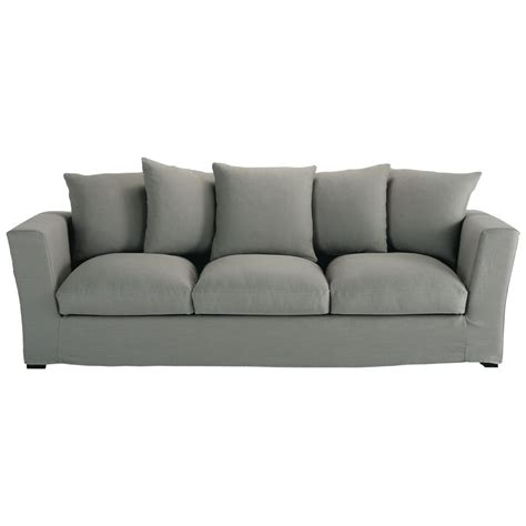 grey linen sofa 4 seater linen sofa in grey bruxelles maisons du monde