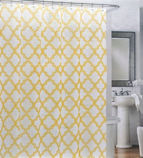 shower curtain yellow yellow quatrefoil trellis lattice shower curtains