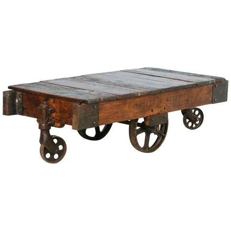 Antique Vintage Luggage Cart Coffee Table Circa 1920 With Antique Coffee Table With Wheels