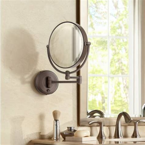 ls plus wall mirrors cordless led pivoting 9 quot wide bronze wall mount mirror