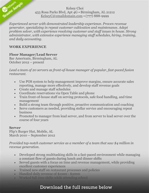 simple food service specialist resume example livecareer