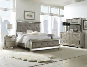 contemporary bedroom furniture sets celine 5 piece mirrored and upholstered tufted queen size
