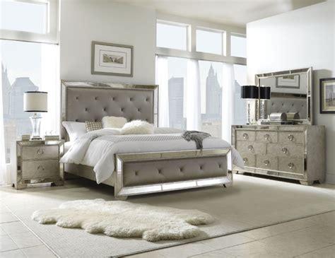 celine  piece mirrored  upholstered tufted queen size bedroom set contemporary bedroom