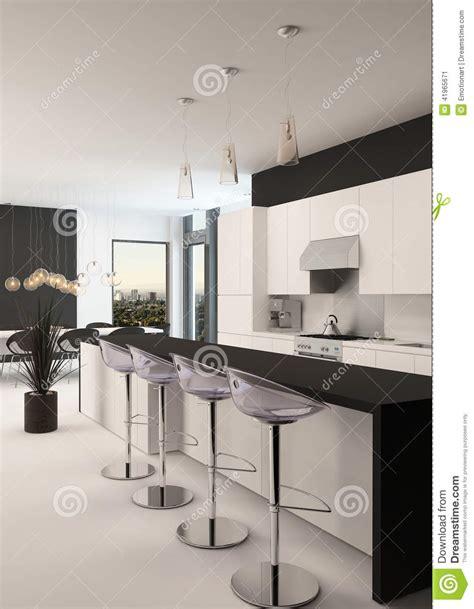 imagenes en blanco y negro modernas cocina blanco y negro moderna y sala de estar stock de