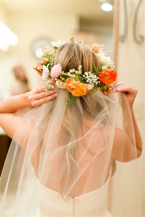 wedding hairstyles veil and flower flower crown with veil for wedding one day