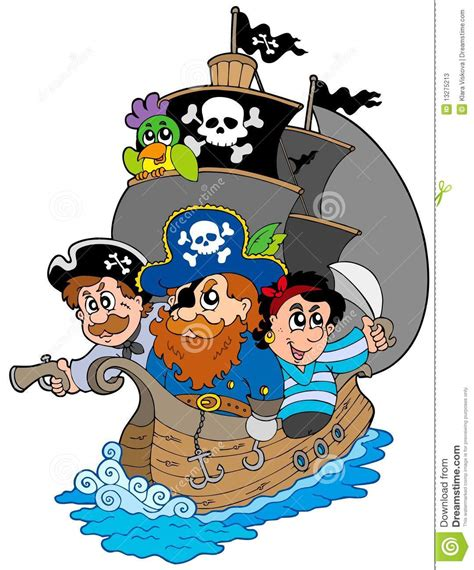 Seaside House Plans by Ship With Various Cartoon Pirates Stock Photos Image
