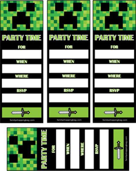 Invite Minecraft Invitations Free Printable Ideas From Family Shoppingbag Com Free Printable Minecraft Birthday Invitations Templates