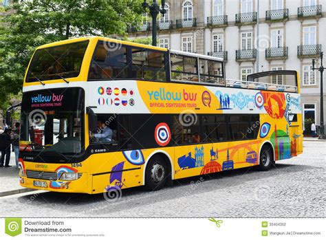 buses from lisbon to porto yellow in porto portugal editorial photography