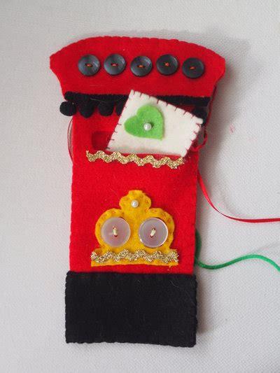 cassetta della posta inglese decorazione natalizia feltro cassetta della posta vintage
