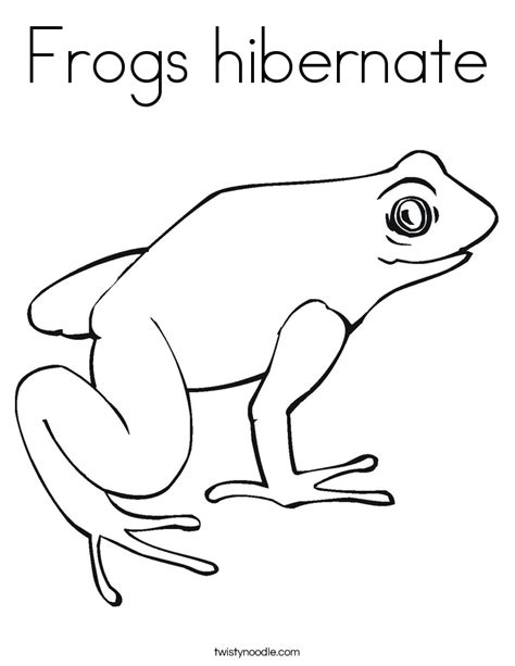 Frogs Hibernate Coloring Page Twisty Noodle Hibernating Coloring Page