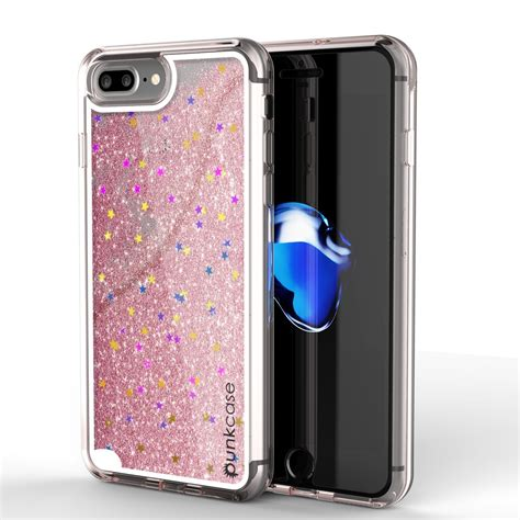 iphone 8 plus punkcase liquid silver series protective dual layer floating glitter