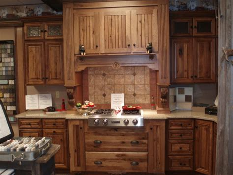 showroom displays traditional kitchen cabinetry rustic hickory showroom