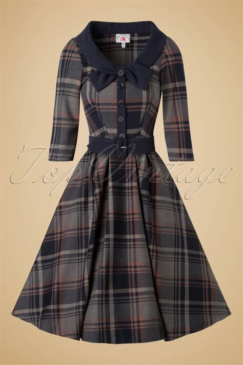 tartan swing dress 40s genevieve lee tartan swing dress in navy