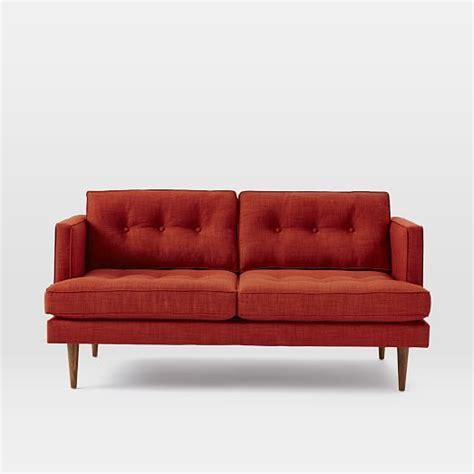pintuck sofa peggy mid century loveseat west elm
