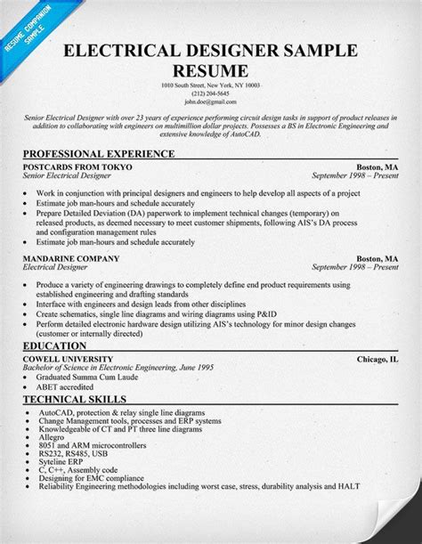 electrical engineering resume template electrical designer resume sle resumecompanion