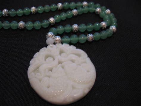 White Jade carved fish white jade pendant with green jade bead