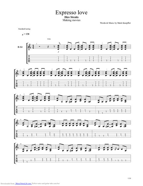 sultans of swing live tab expresso love guitar pro tab by dire straits