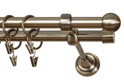 curtain poles double metal double curtain pole rod diameter 19mm antique