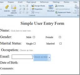 how to create a form template in word create user entry forms in word 2010