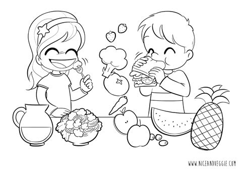 kids eating veggies coloring pages for children nice