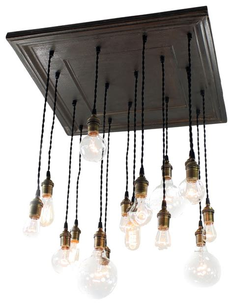 Black Square Chandelier Square Salvaged Barn Tin Chandelier Black Coffee