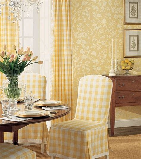 sunny dining space wrapped  yellow buffalo check
