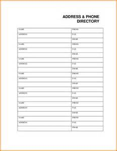 Phonebook Template by 7 Phone Book Template Itinerary Template Sle