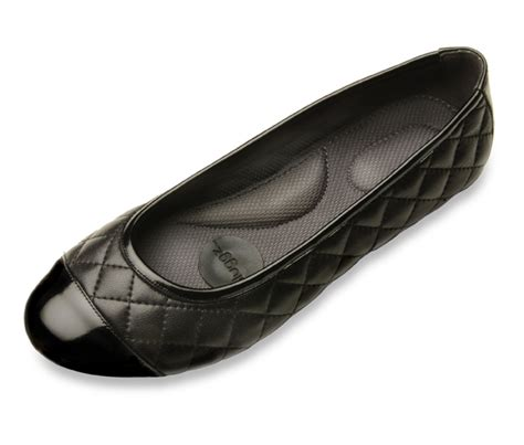 womens black leather ballet flats quilted leather shoes