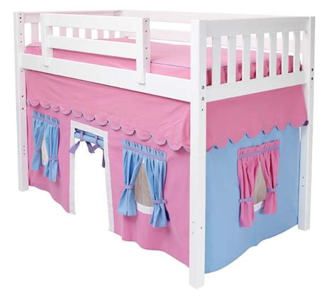 Girl S Play Tent Mid Loft Bed By Maxtrix Kids Pink Blue