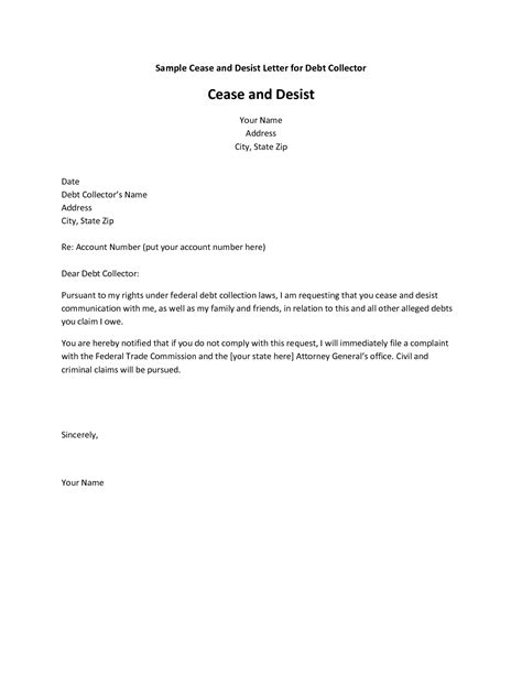cease and desist letter template for debt collectors cease and desist letter format best template collection