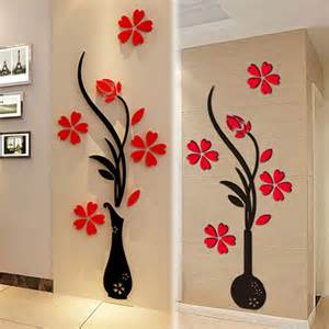 Flower Wall Art Stickers 3d Vase Flower Diy Mirror Wall Decals Stickers Art Home