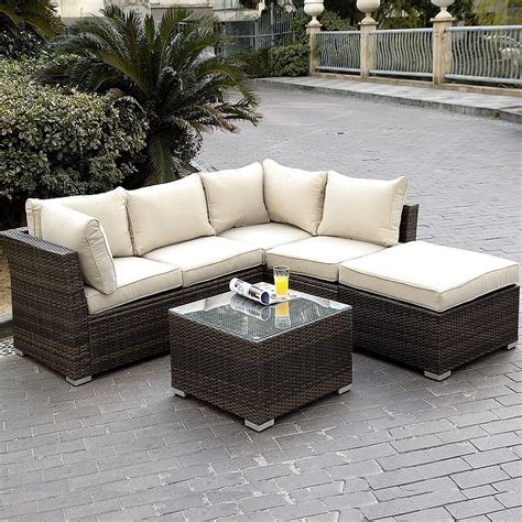 rattan outdoor sofa giantex 4pc wicker rattan outdoor sectional sofa set