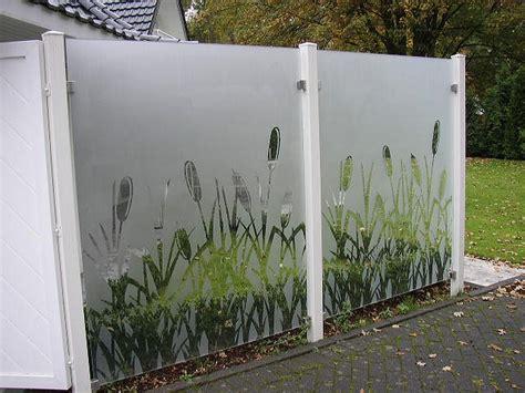 klarglas sandgestrahlt glaszaun sichtschutz zaun