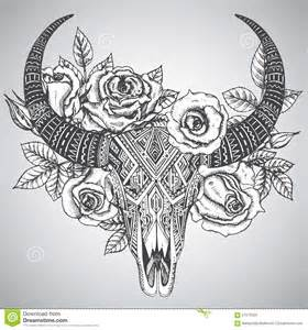 decorative indian bull skull in tattoo tribal style with