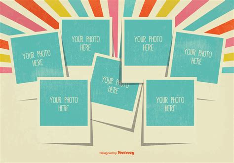 Card Templates 4 Picture Collage by Retro Style Photo Collage Template Free Vector