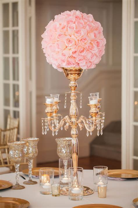 Gold Candelabra, Pink Rose Wedding Reception Centerpiece
