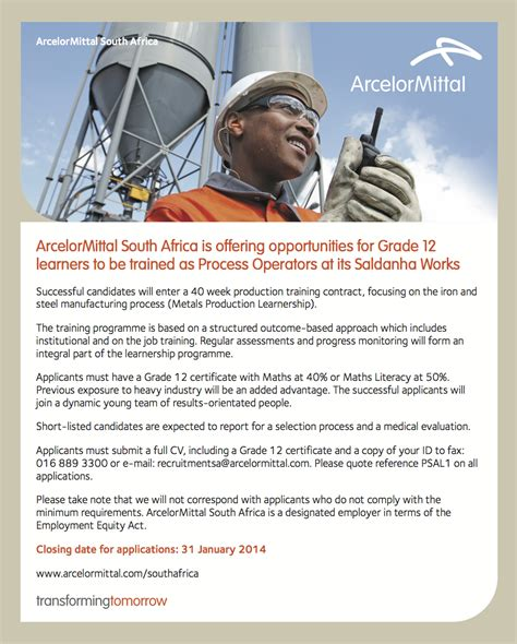 sa learnerships 2015 to 2016 arcelormittal learnership programme for matriculants process