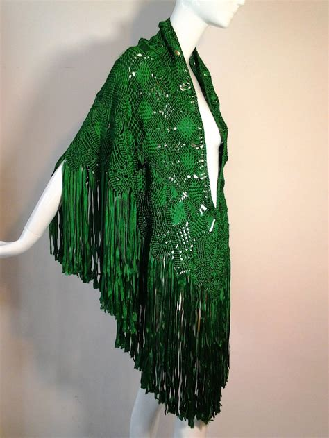 macrame ribbon fringed shawl in vibrant emerald green at